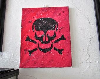 acrylic skull on canvass