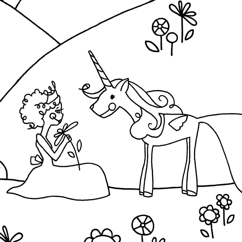 Unicorn Coloring Printable, Unicorn Party Favor, Princess ...