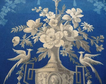 French fabric / deepest Prussian blue  / antique textile/classic Rocco fabric circa 1800/rose fabric/antique fabric
