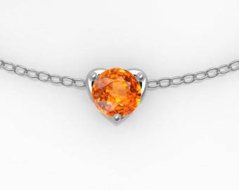 """Eros"" mandarin Garnet and silver pendant and chain - ""Eros"" Collection"