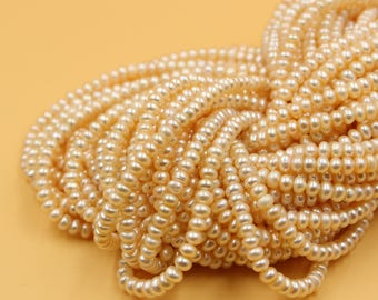 4 - 5 mm Freshwater Pearls Rondelle pearl Natural champagne gold loose pearl 15'' Full Strand