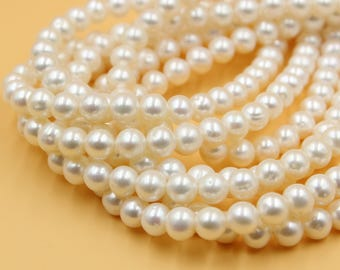 8 - 9 mm white round freshwater pearls, white round pearl, full strand, round pearl strands, pearl wholesale