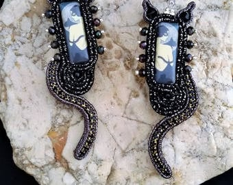 soutache earrings cat  jewels, Soutache Jewerly, fashion, Soutache Jewels, accessories, cabochon, crystals, beads, handmade from Italy