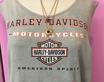 vintage harley tee/recycled harley tee/classic harley tee/FAB 208 NYC/harley davidson tee/harley logo tee