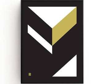 Geometric Wall Art Print, gold, black, white, Modern art, Contemporary art, Minimalist art, Printable art