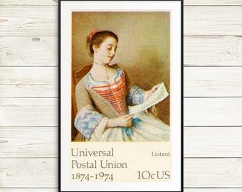 jean etienne liotard, liotard art print, us postage stamps, rare postage stamps, vintage wall art, vintage stamp art, antique art prints set