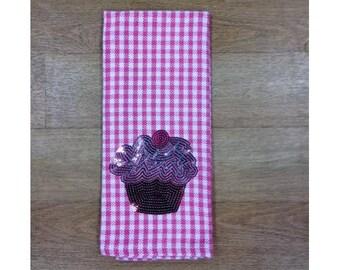 Pink Checked Bling Cupcake Kitchen Towel
