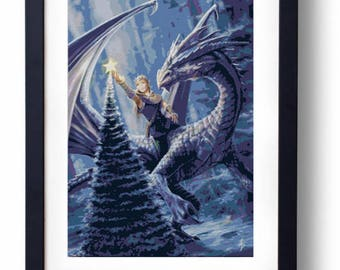 Winter fantasy dragon christmas fairy elf elves (Cross stitch embroidery pattern pdf)