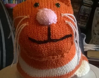 Hand knitted Cat - Ginger, Grey or pink