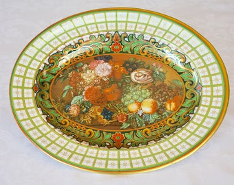 Daher Ware Oval Decorative Tray, Daher Decorated Ware, Collectible Tray, Tin, Floral, Fruit Design, Made in England, Daher Tray, Wall Decor