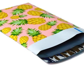 10-6x9 Pink & Yellow Pineapple #SmileMail Designer Poly Mailers Envelopes Bags  self seal