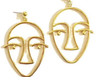 Gold Minimalist Face Earrings