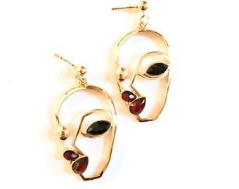 Jeweled Face Earrings