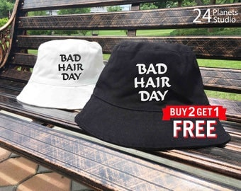 Bad Hair Day Embroidered Bucket Hat by 24PlanetsStudio