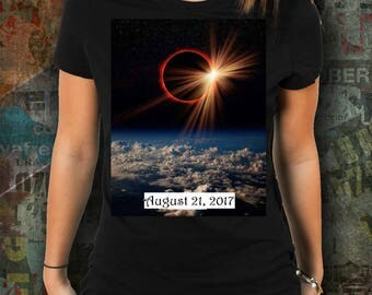 Total Solar ECLIPSE Women's Tshirt! Fire Red Ring Surrounds the Moon in Actual Photograph from 2017 Event Commemorative Tee Treasure Tee!