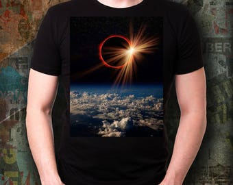 Total Solar ECLIPSE Tshirt! Fire Red Ring Surrounds the Moon in Actual Photograph from 2017 Event Commemorative Tee Wearable Treasure Tee!