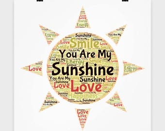 """You Are My Sunshine POSTER! 16"""" x 16"""" Poster I Love You Sunshine Wall Art Bedroom Office Decor College Dorm Decoration Guest Room Children"""