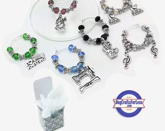 HOBBY Theme Wine or Bottle Charms, Faceted Glass and Silver, Set of 6!  +FREE SHiPPiNG & Discounts*