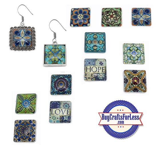 ARTFUL MANDALA Cabochons, EARRINGs, CHARMs , PENDANTs, 12 NeW designs +99cent Shipping & Discounts
