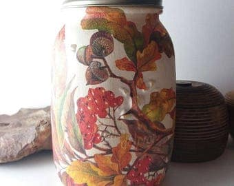 Autumn Oak Leaves and Acorns Chalk painted mason jar