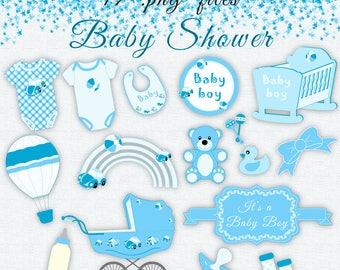 Sale 30% Blue Baby Clip Art, Baby Shower Clip Art, Baby Vectors, Blue Baby Shower Clipart, Baby Boy Shower Invitation, Instant Download