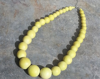 Yellow Bead Necklace wood - big necklace - wood Bead Necklace - ethnic necklace - hippie necklace - yellow pearl necklace - yellow necklace