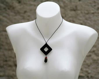 pendant - necklace pendant necklace wood - square necklace - cord necklace - cord pendant necklace