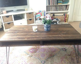 Rustic Reclaimed Wood Coffee table with Steel Hairpin Legs