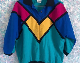 Vintage 90s Colorblock Half Button Shirt
