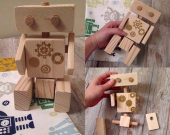 CONNECTABLE Wooden ROBOT, poseable wooden robot, montessori wooden toy, wooden toy gift, Waldorf wooden toy, EDUCATIONAL toy, eco-friendly