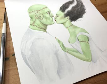 Original Watercolour Painting - The Kiss