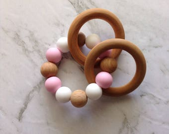 Pink Teething Ring and Rattle