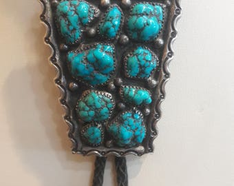 Vintage Native American Navajo Handmade Sterling Silver Turquoise bolo tie