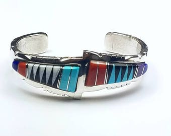 Native American Zuni handmade Sterling Silver channel inlay multi-stone cuff bracelet