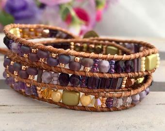 Purple & Gold Mix Beaded Leather Wrap Bracelet, Boho Bracelet, Leather Bracelet, UK Seller