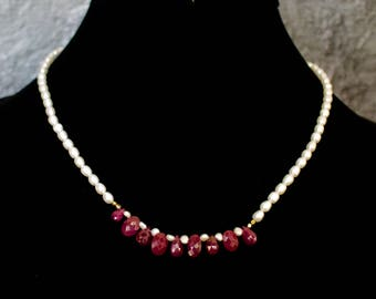 Fresh Water Pearl Strand and Ruby Briolettes Necklace.