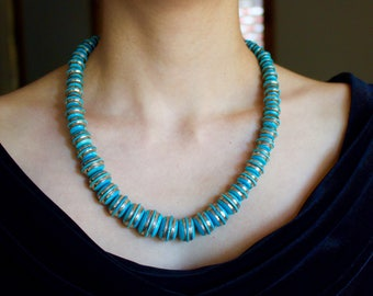 Vintage sleeping Beauty Turquoise and Sterling Silver Necklace.