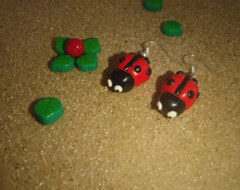 polymer clay black and Red Ladybug earrings