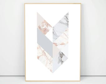 Marble Geometry Poster, Marble Texture Print, Pastel Poster, Modern Marble Art, Grey Marble Poster, Pink Marble, Marble Wall Art