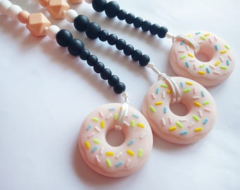 Silicone Pacifier Clip Silicone Donut Silicone Teether Chew Jewelry BPA Free Jewellery Teething Beads Dummy Chain Baby Shower Gift Baby Gift
