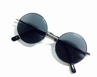 Retro Black Lens Circle Frame John Lennon Spectacle Sunglasses