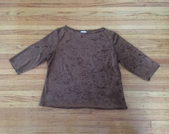 90's Size Large/XL Brown Crushed Velvet Top