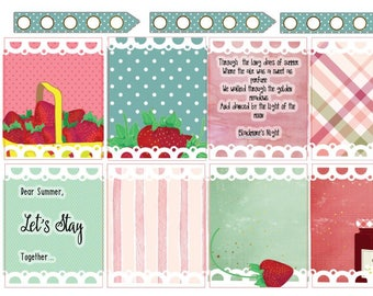 Clearance Sale!!! Summer Strawberries - Erin Condren Weekly Sticker Kit (EC)