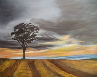 Original Landscape Oil Painting Ploughed Field With Tree