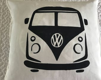 VW Bus rustic pillow