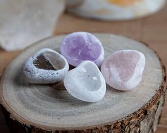 4 Seer Stone Set (aka Window / Ema Crystals) - Amethyst, Clear Quartz, Rose Quartz, Smokey Quartz (4 stones, 1 of each)