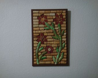 Flower art, cork art, Flowers, cork board, wine cork art, wine corks, cork, wine cork crafts, cork frame
