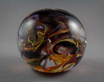 Black and Orange Glass Paperweight