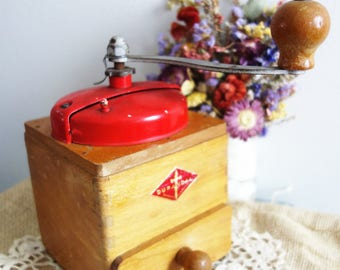 Vintage French Coffee Grinder By Gurandal Lovely Wooden Manual Coffee Grinder Collectible ! Rustic Farmhouse Kitchen Decor