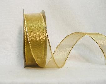 "Metallic gold wired ribbon, size 7/8"" x  10 yards"
